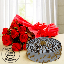 Online Butterscotch Half Kg Cake with 9 Red Roses