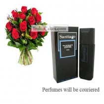 12 Red Roses Bunch And Santiago Perfume 100 ml