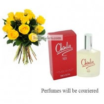 12 Yellow Roses Bunch And Charlie Revlon Perfume 100 ml