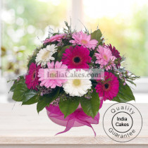 PINK AND WHITE GERBERAS BUNCH