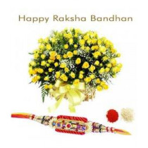 100 Yellow Roses With Rakhi