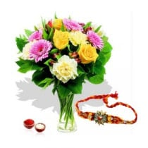 10 Mix Flowers In Vase With Rakhi
