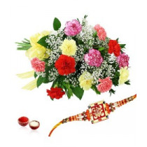 12 Mixed Carnation With Rakhi
