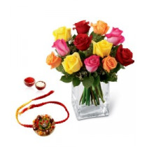 12 Mixed Color Roses With Vase And Rakhi