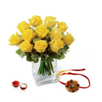12 Yellow Roses Vase With Rakhi