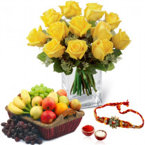 12 Yellow Roses and 3 Kg Mix Fruits With Rakhi