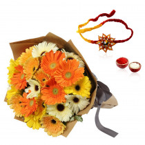 15 Mix Gerberas Bunch With Rakhi