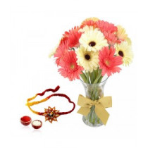 15 Mix Gerberas Vase With Rakhi