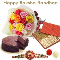 15 Mix Roses With Half Kg Assorted Dry Fruits With Half Kg Chocolate Cake With Rakhi