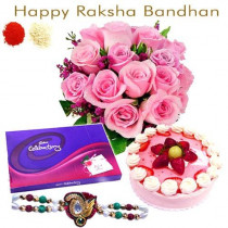 15 Pink Roses Bunch Half Kg Strawberry Cake Cadbury Celebration With Rakhi