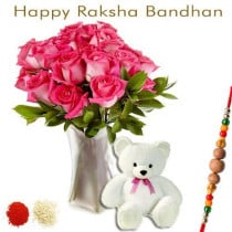 15 Pink Roses In Vase Teddy Bear With Rakhi