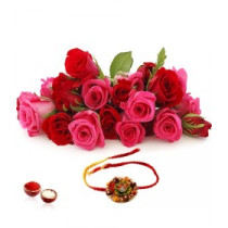15 Red And Pink Roses Bunch With Rakhi
