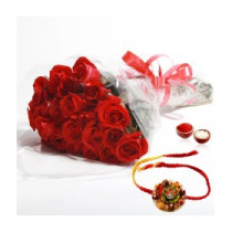15 Red Roses With Rakhi
