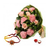 15 Roses And Carnation Fillers With Rakhi