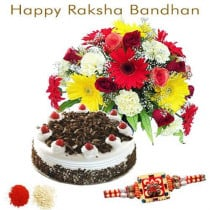 15 Seasonal Flower Bunch With Half Kg Black Forest With Rakhi