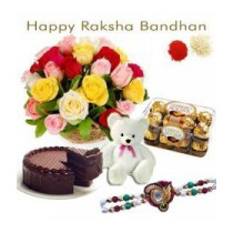 20 Mix Roses Ferraor Rocher Chocolate Half Kg Chocolate Cake Teddy Bear Rakhi
