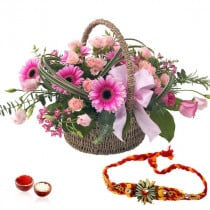 20 Pink Roses Gerberas Basket Arrangement With Rakhi
