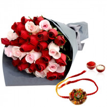 30 Red And Pink Roses With Rakhi