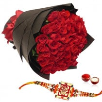 50 Red Roses Bunch With Rakhi
