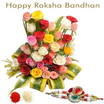 Arrangement of 25 Mix Roses With Rakhi
