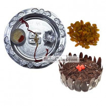 Silver Thali And Half Kg Eggless Black Forest Cake And 250 gms Raisins Dryfruits