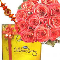 Rakhi with 12 Pink Roses and Cadbury Celebration