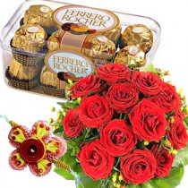 Rakhi with 16 Ferrero Rocher Chocolates-12 Red Roses Bunch