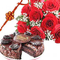 Rakhi with 1 Kg Chocolate Truffle Cake-6 Red Roses Bunch