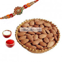 Rakhi with 250 gms Almonds Dryfruits