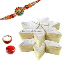 Rakhi With 500 gms Kaju Burfi