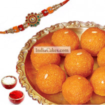 Rakhi With 500 gms Motichur Laddu