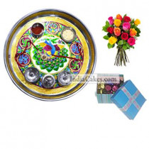 Golden Thali With Red Design And 20 Pcs Blue Chocolate Box With Ribbon With 10 Mix Roses Bunch