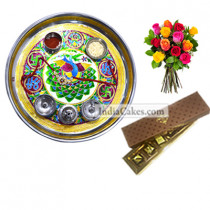 Golden Thali With Green Design And 5 Pcs Brown Color Chocolate Box with 10 Mix Roses Bunch