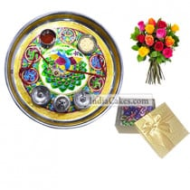 Golden Thali With Green Design And 20 Pcs Golden Chocolate Box With 10 Mix Roses Bunch