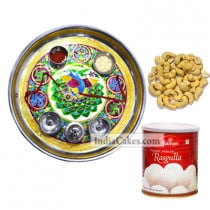 Golden Thali With Green Design And Rasgulla And Cashew