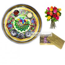 Golden Thali With Green Design And 8 Pcs Velvet Finish Chocolate Box With 10 Mix Roses Bunch