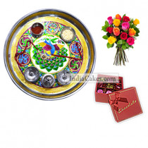Golden Thali With Green Design And 20 Pcs Red Color Chocolate Box With Ribbon With 10 Mix Roses Bunch