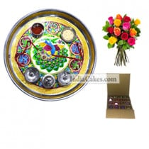 Golden Thali With Green Design And 16 Pcs Golden And Orange Stips Chocolate Box With 10 Mix Roses Bunch