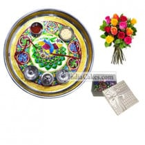 Golden Thali With Green Design And 20 Pcs Silver Color Chocolate Box With 10 Mix Roses Bunch