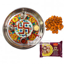 Golden Thali With Red Design And Soanpapdi And Almond
