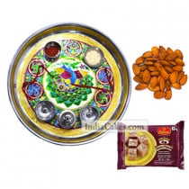 Golden Thali With Green Design And Soanpapdi And Almond