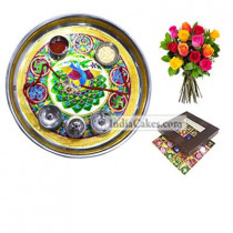 Golden Thali With Red Design And 25 Pcs Brown Color Chocolate Box With 10 Mix Roses Bunch