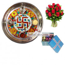 Golden Thali With Red Design And 20 Pcs Blue Chocolate Box With Ribbon With 10 Red Roses Bunch