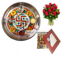 Golden Thali With Red Design And 25 Pcs Red Color Chocolate Box With 10 Red Roses Bunch