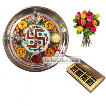Golden Thali With Red Design And 8 Pcs Velvet Finish Chocolate Box With 10 Mix Roses Bunch
