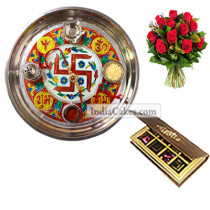 Golden Thali With Red Design And 8 Pcs Velvet Finish Chocolate Box With 10 Red Roses Bunch