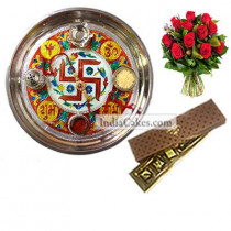 Golden Thali With Red Design And 5 Pcs Brown Color Chocolate Box With 10 Red Roses Bunch