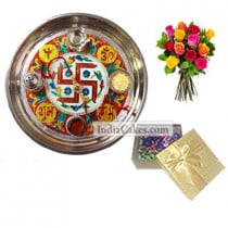 Golden Thali With Red Design And 20 Pcs Golden Chocolate Box With 10 Mix Roses Bunch