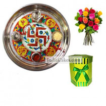 Golden Thali With Red Design And Hexagon Shaped Green Color Chocolate Box With 10 Mix Roses Bunch