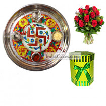 Golden Thali With Red Design And Hexagon Shaped Green Color Chocolate Box With 10 Red Roses Bunch